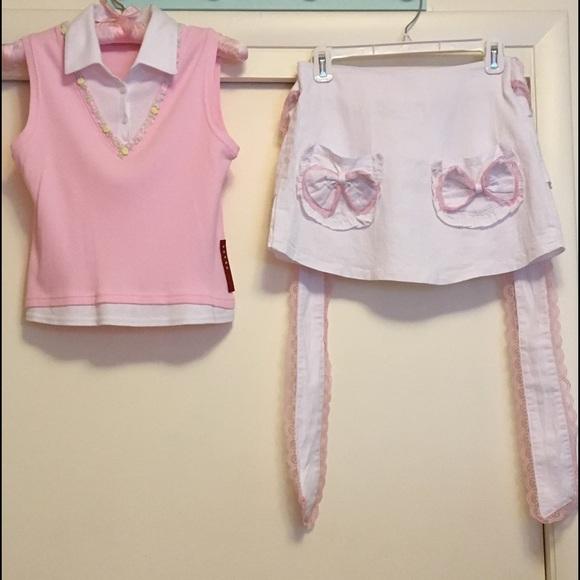 2631c3cdd0baf Prada Top & white denim ruffled skirt